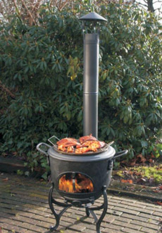 Vulkan Grill Terassenofen aus Guss + Grillplatte aus Guss