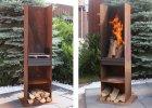 Grill und Feuersäule U hoch Edelrost