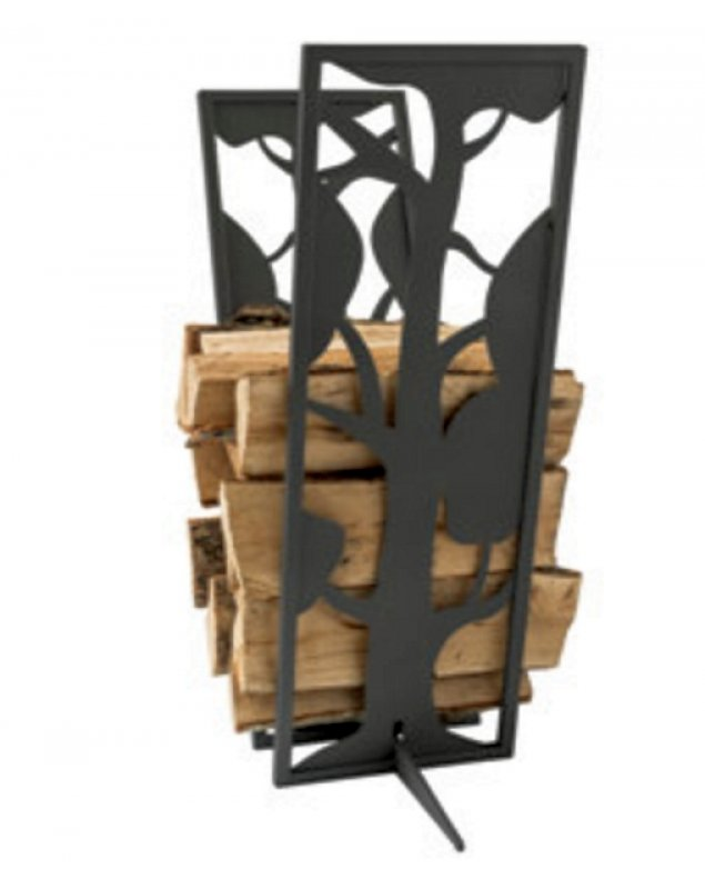 Kamin-Holz-Regal Motiv Baum schwarz