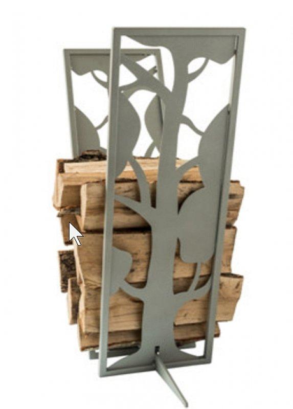 Kamin-Holz-Regal Motiv Baum silber