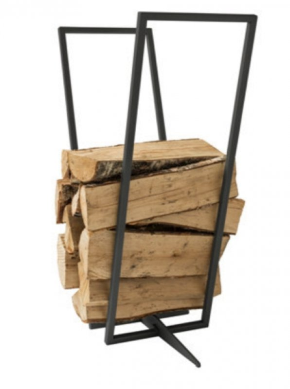 Kamin-Holz-Regal schwarz