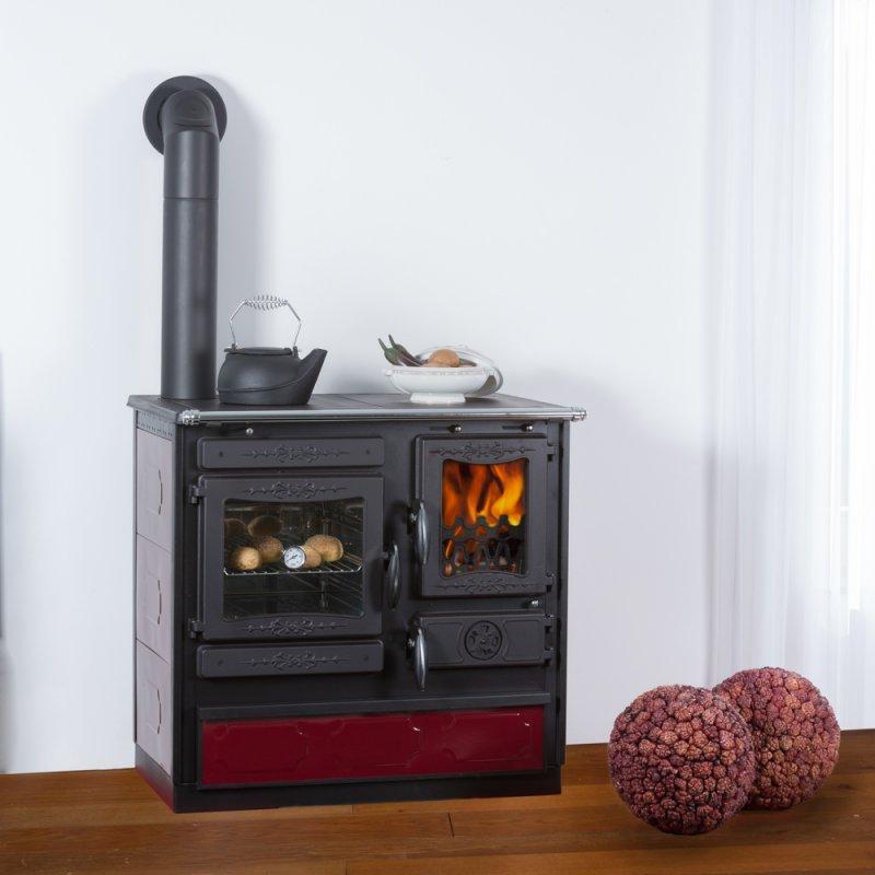 Globe Fire Alhena bordeaux Küchenherd Gussherd