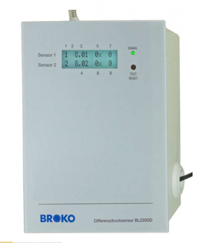BL220DD(SG)+TEMP(SG),Funk-Differenzdrucksensor m. Funk-Temperatursensor, DIBt